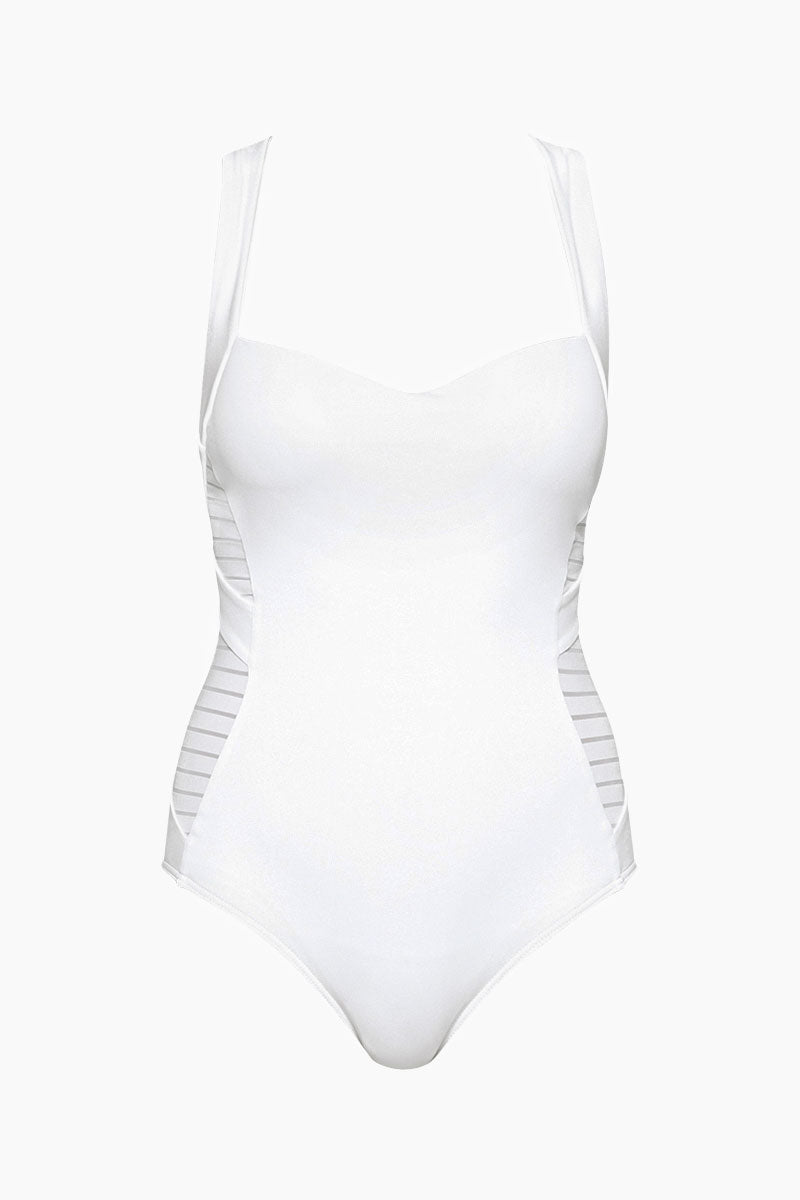 Low Back Infinity Criss Cross Straps One Piece Swimsuit - White