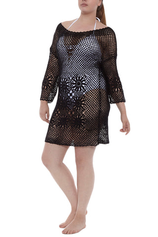 J. VALDI Boho Crochet Tunic Cover Up | Black| J Valdi Boho Crochet Tunic