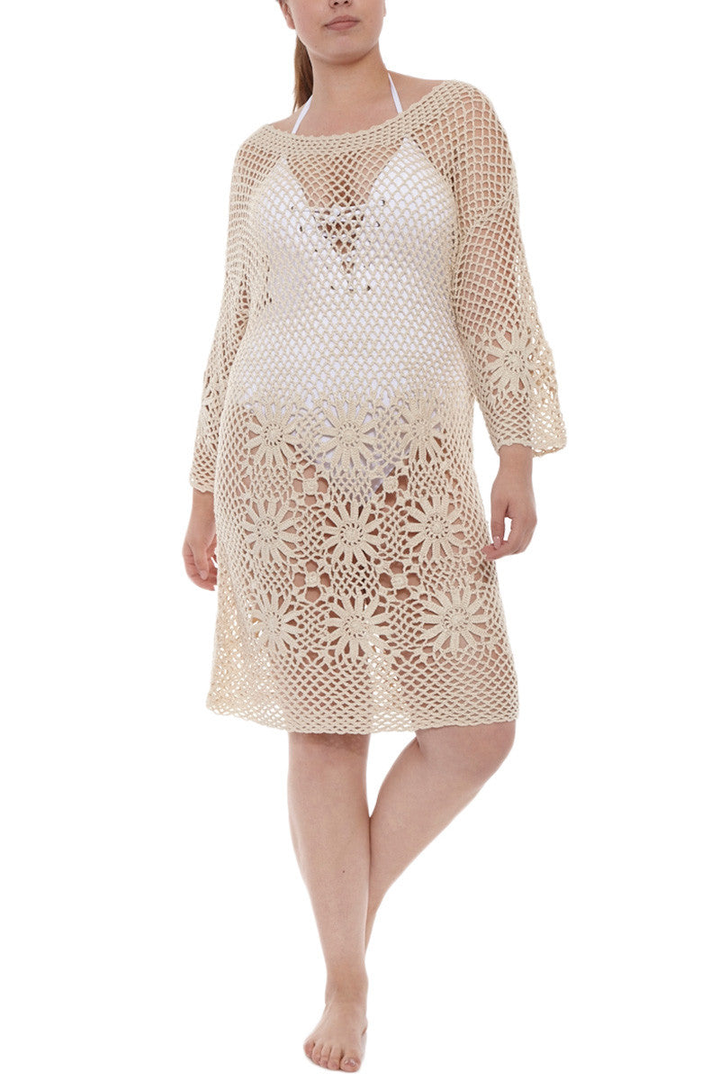 J. VALDI Boho Crochet Tunic Cover Up | Natural| J Valdi Boho Crochet Tunic