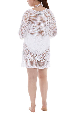 J. VALDI Boho Crochet Tunic Cover Up | White| J.Valdi Boho Crochet Tunic