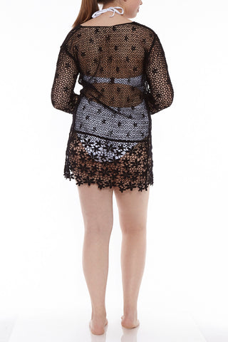 J. VALDI Festival Crochet Tunic Cover Up | Black| J Valdi Festival Crochet Tunic
