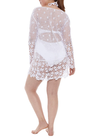 J. VALDI Festival Crochet Tunic Cover Up | White| J. Valdi Festival Crochet Tunic