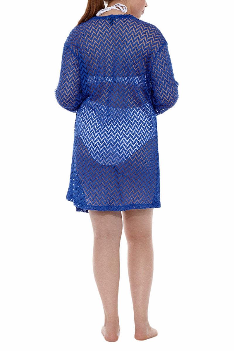 J. VALDI Tiki Front Tie Cover Up Cover Up | Blue| J Valdi Tiki Front Tie Cover Up