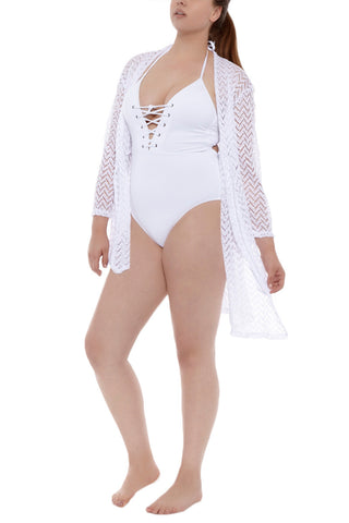 J. VALDI Tiki Front Tie Cover Up Cover Up | White| J.Valdi Tiki Front Tie Cover Up