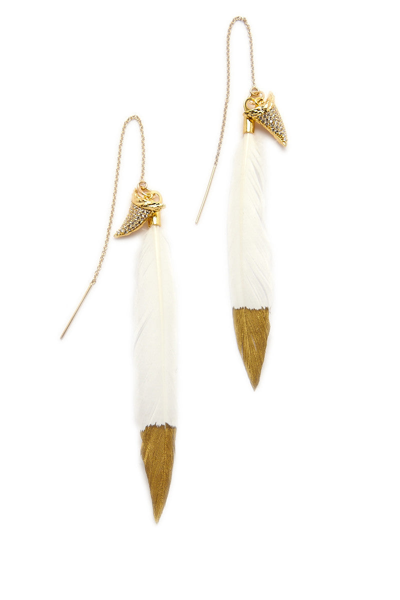 Jaws Earrings copy Jaws Feather Earrings 8211 Gold 038 Ivory White