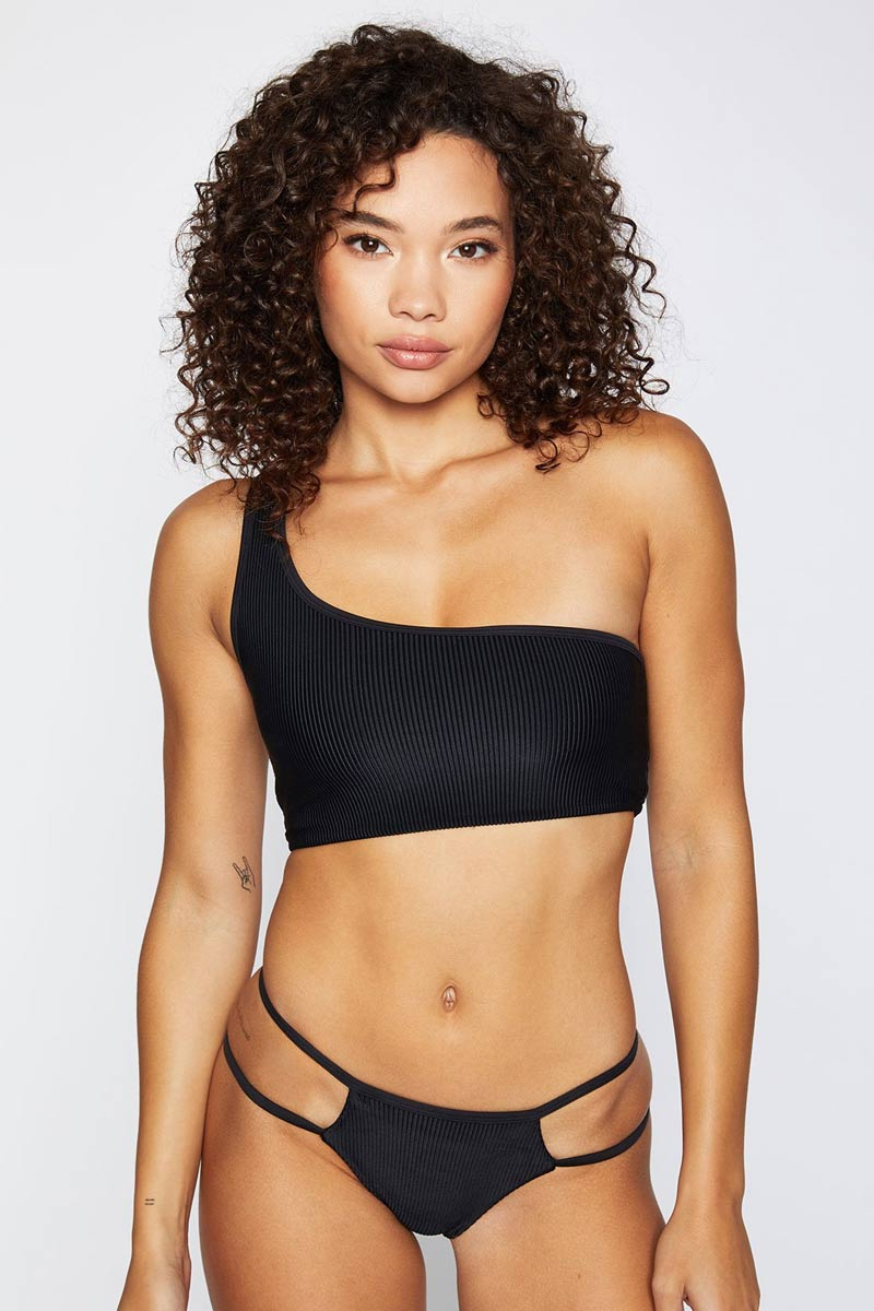Jaymi Ribbed One Shoulder Bikini Top - Black