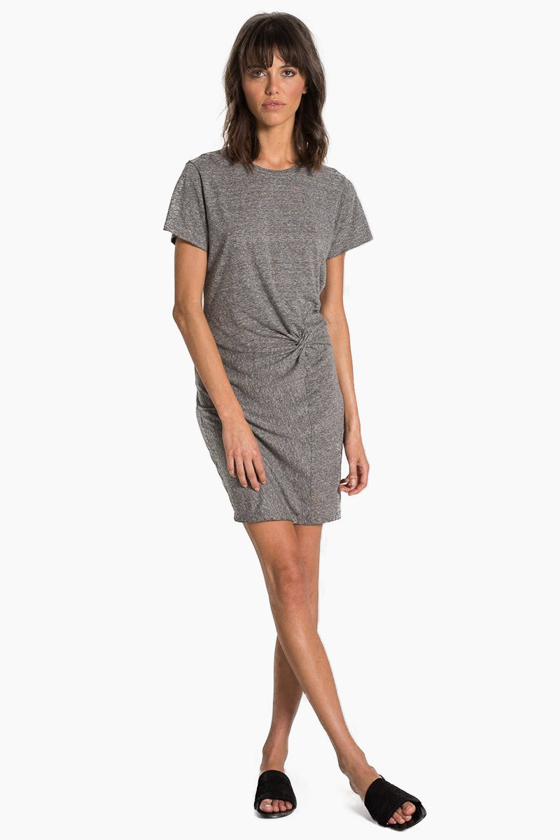 Jazz Twisted Short Sleeve Mini Dress - Heather Grey