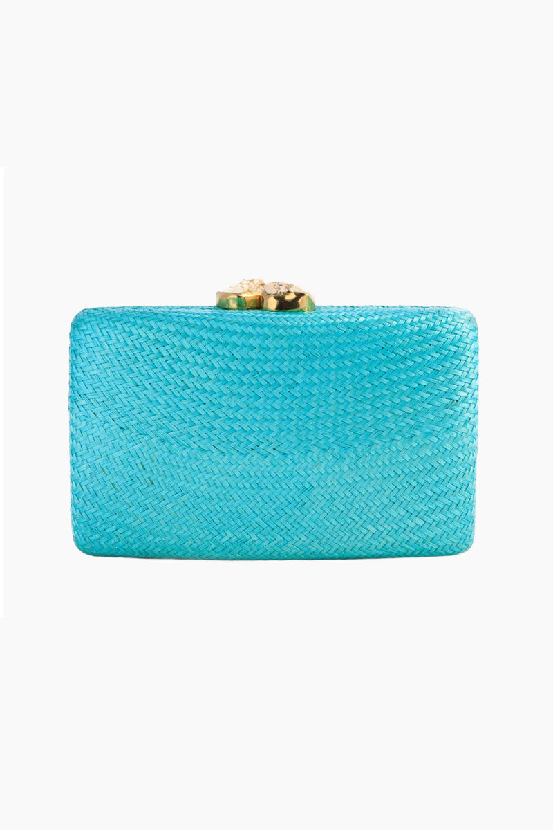 Jen Clutch With White Stone - Turquoise