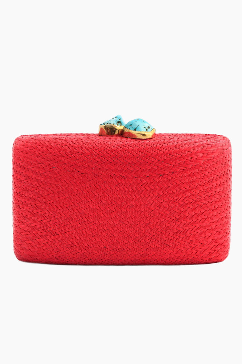 Jen With Turqoise Stone Clutch - Red