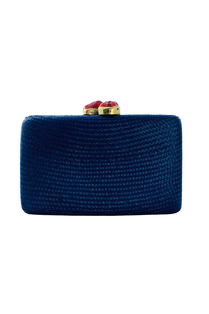 Jen Clutch With Red Stone - Navy