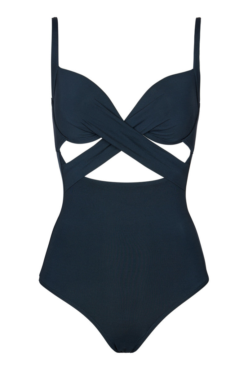 U Wire Cutout One Piece Swimsuit - Ink Blue