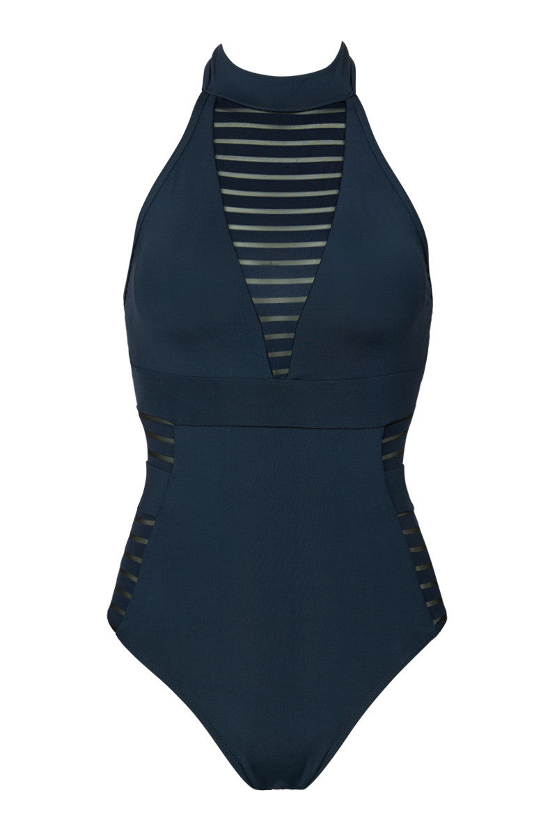 Mesh High Neck One Piece Swimsuit - Ink Blue