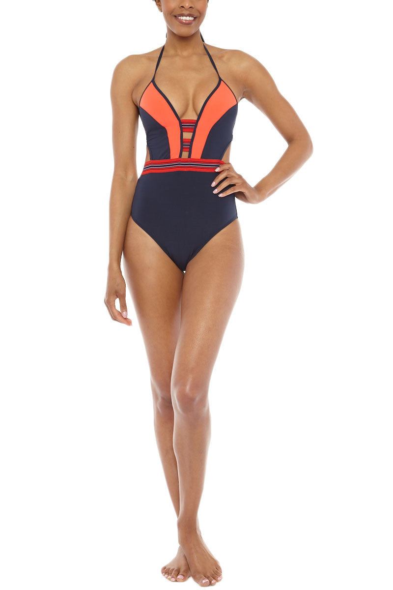 Plunge One Piece Swimsuit - Ink/Valencia