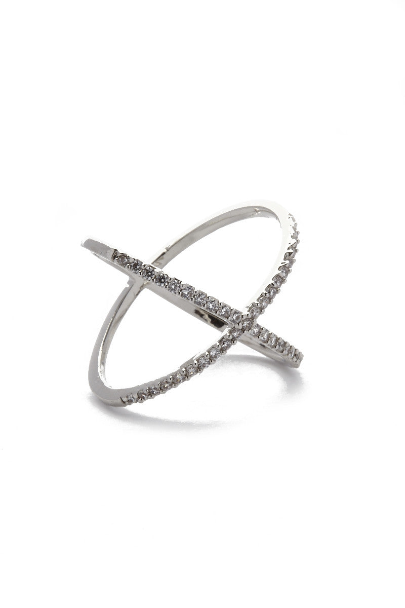 JEWEL CULT Pave Crystal X Cross Ring Jewelry | Silver| Jewel Cult Pave Crystal X Cross Ring