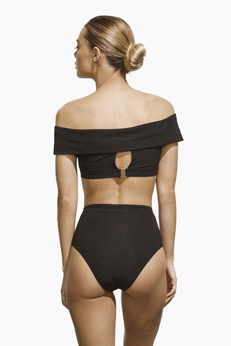 Jolie High Wasited Bikini Bottom - Black