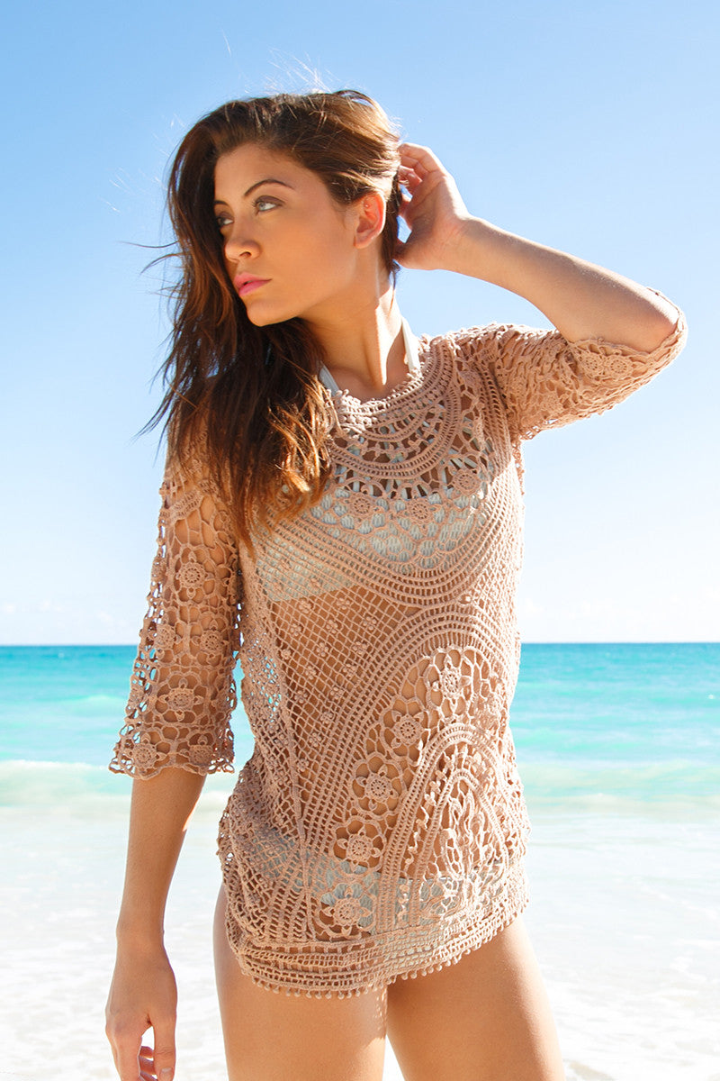 BIKINI.COM Crochet Tunic Cover Up | Khaki|
