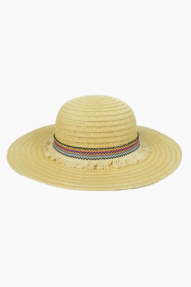 Fringe Raffia Braid Sun Hat (Kids) - Multi Rainbow Print