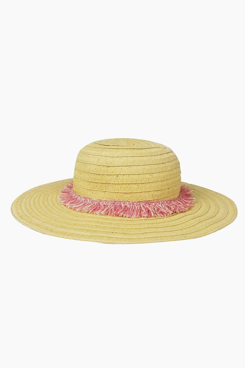Fringe Raffia Braid Sun Hat (Kids) - Pink