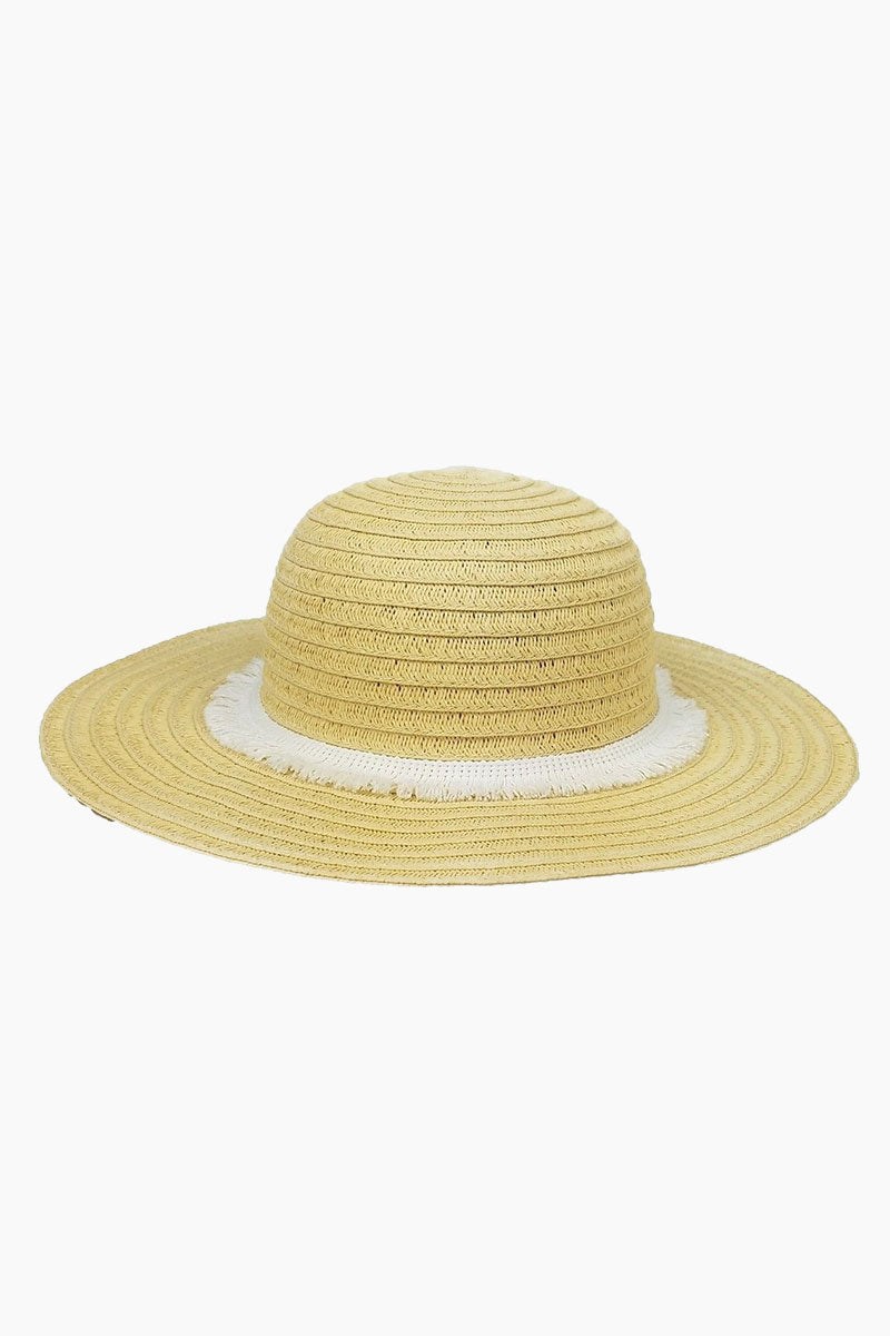 Fringe Raffia Braid Sun Hat (Kids) - White