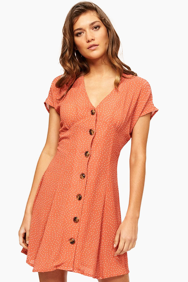 Kindred Button Front Mini Dress - Red & White Polka Dots Print