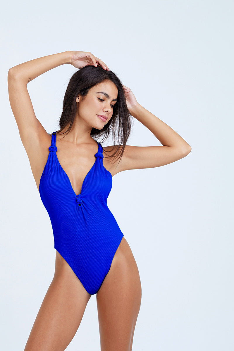 Cali Dreaming Knotted One Piece Swimsuit  - Shock