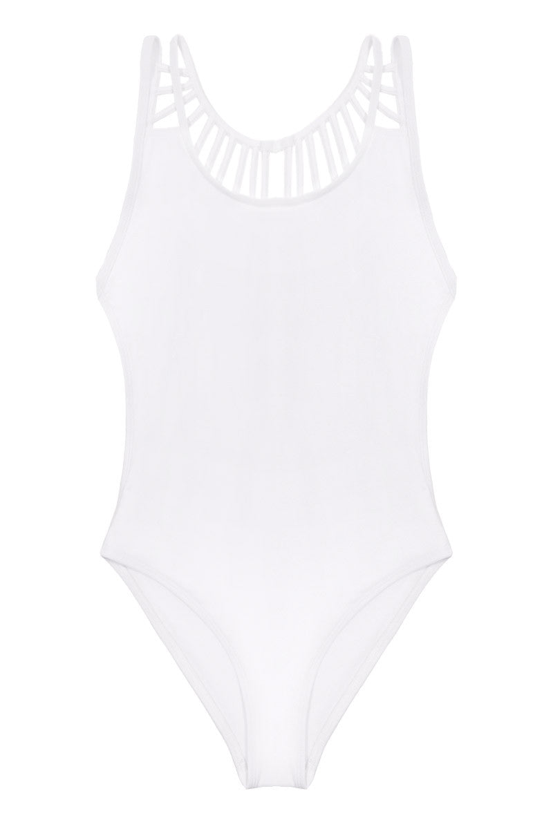 The Solid Line Up Strappy Caged One Piece Swimsuit - White
