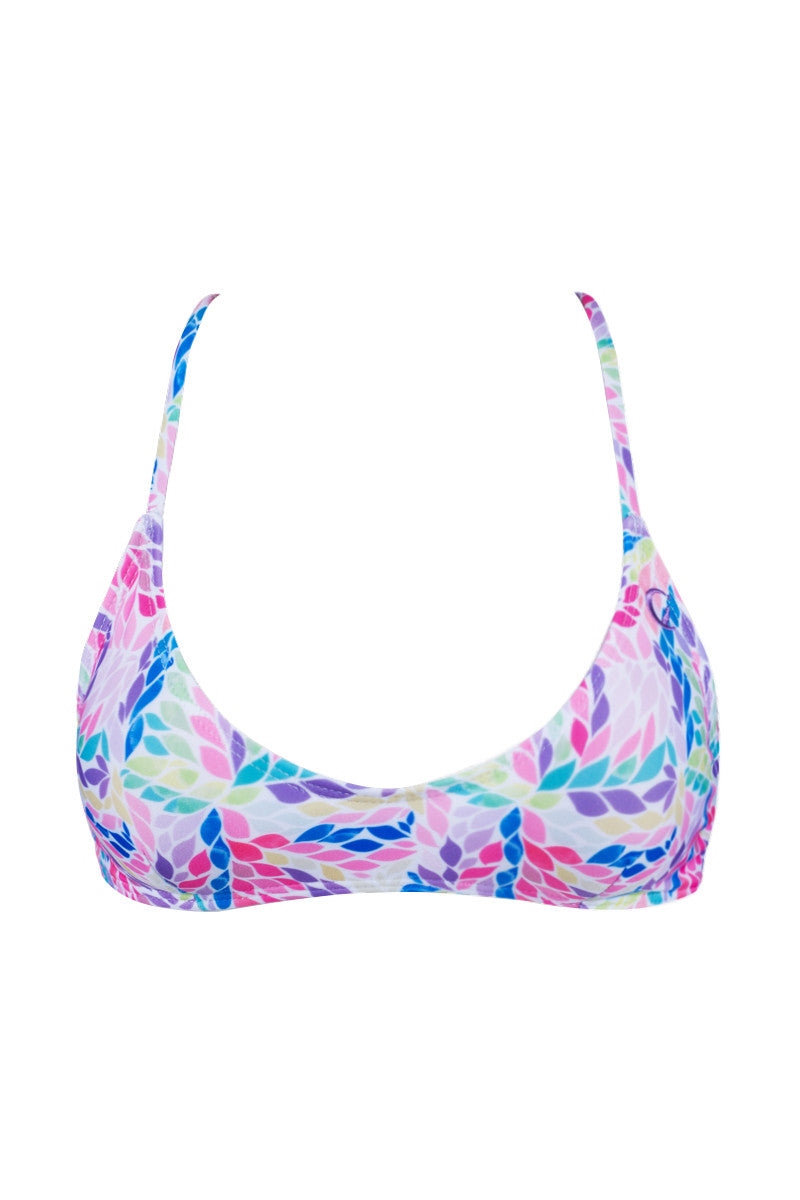Swell Criss Cross Back Bralette Bikini Top - Mimosa Petals Abstract Print