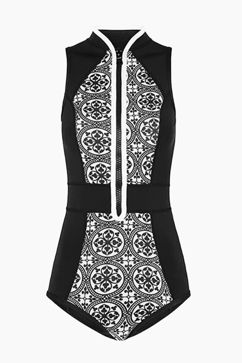 La Kasbah Color Block Sleeveless Zipper Rashguard Bodysuit - Black & White Tile Print