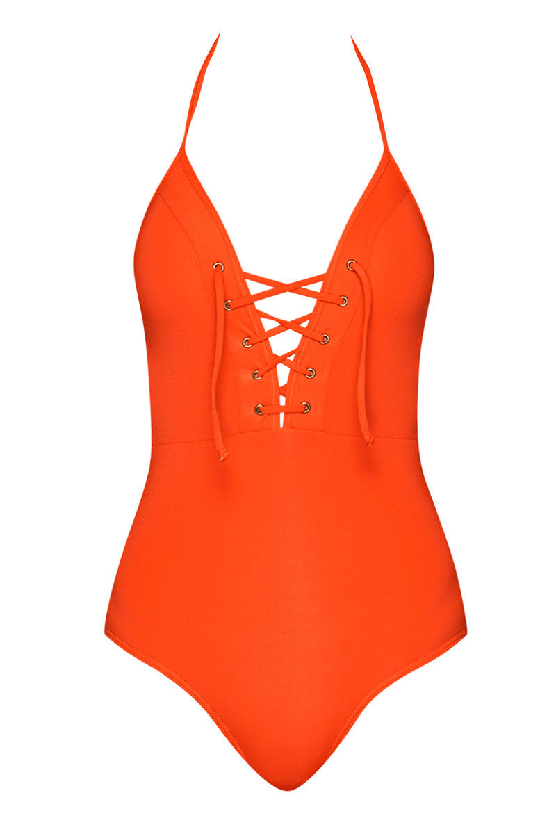 Halter Lace Up One Piece Swimsuit - Valencia Orange
