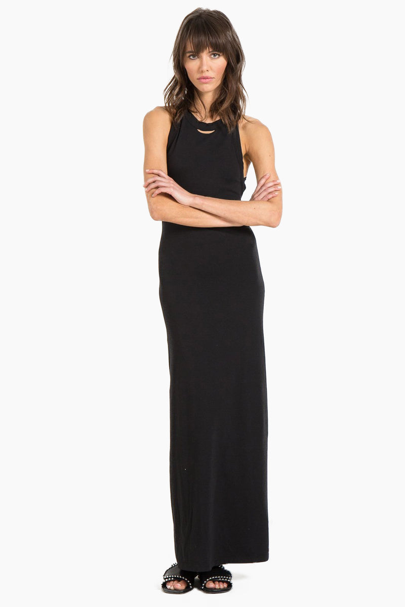 Lady Criss Cross Back Maxi Dress - Black Cat