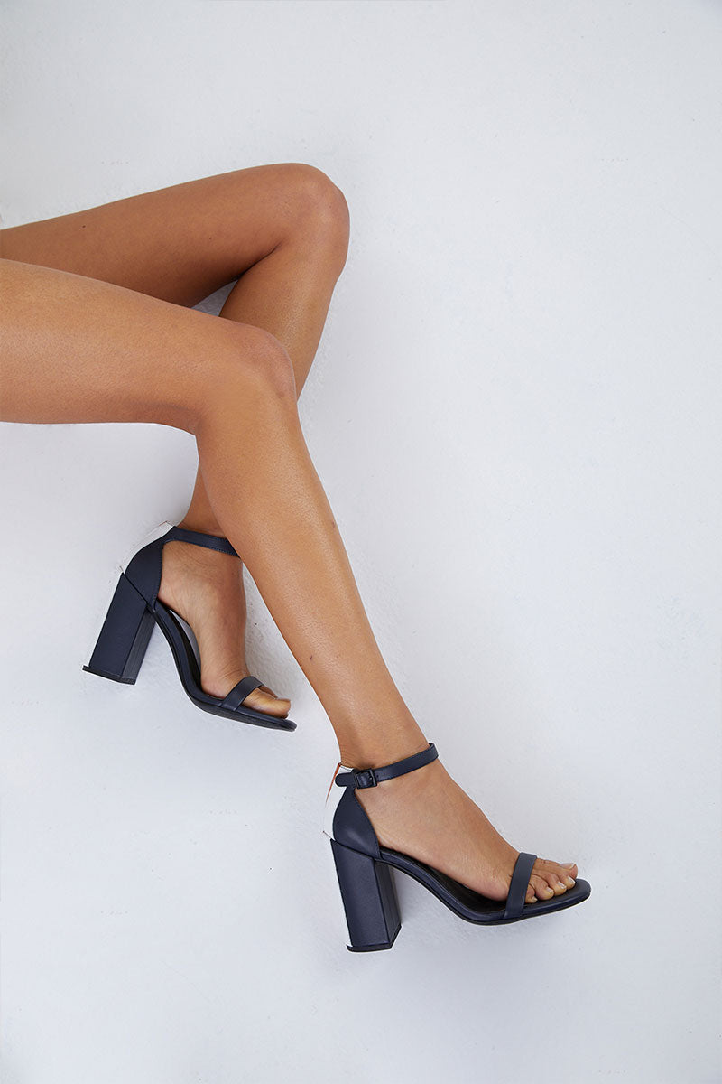 Lana Block Heel Sandals - Navy Colorblock