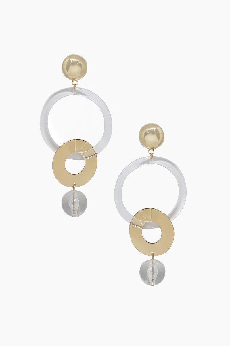 Large Drop Hoop Earrings - Clear & Gold
