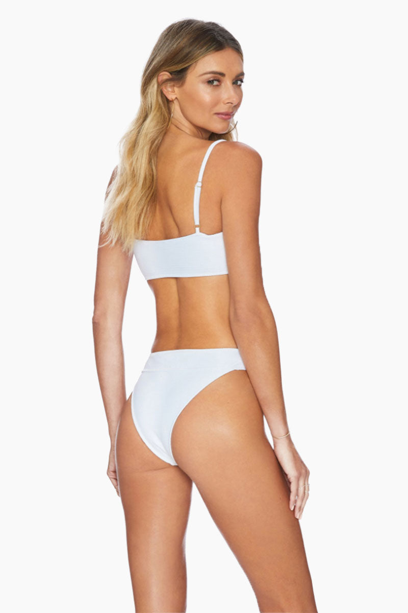 Ruby High Cut High Waist Bikini Bottom - White