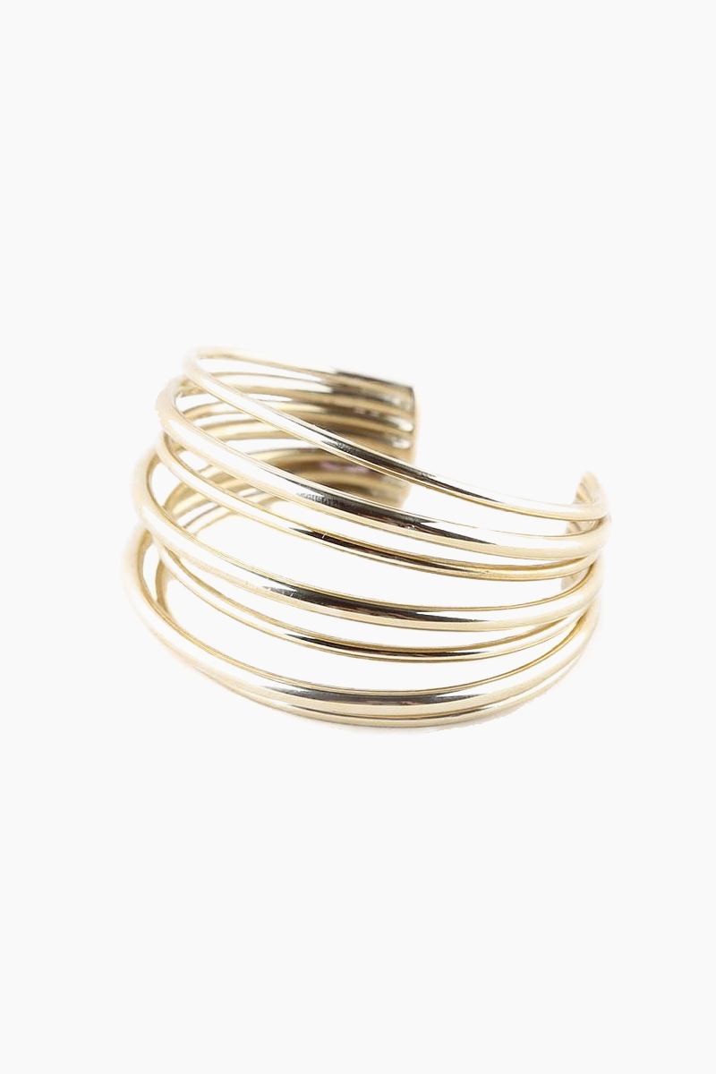 Layered Strand Cuff Bracelet - Brass