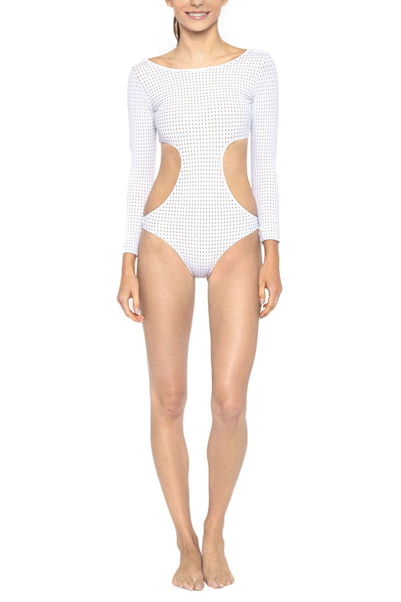 Swimsuit | Piece | White | Mesh | Out | Cut | One