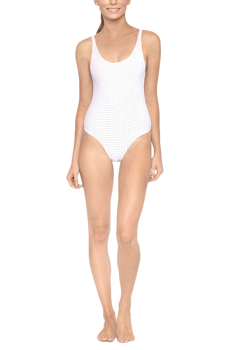 Kaila Scoop Neck Open Back One Piece Swimsuit - Reef Blanc