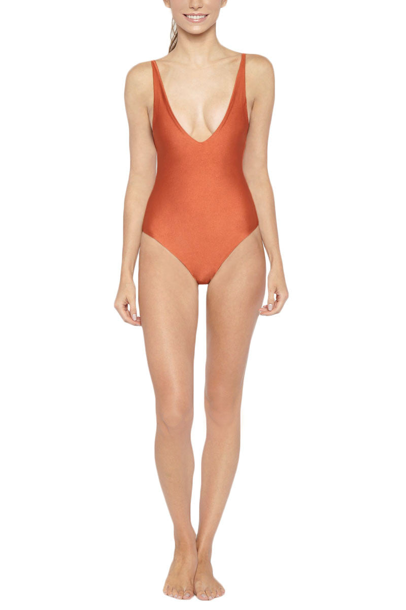 Nia Deep V Open Back One Piece Swimsuit - Adobe