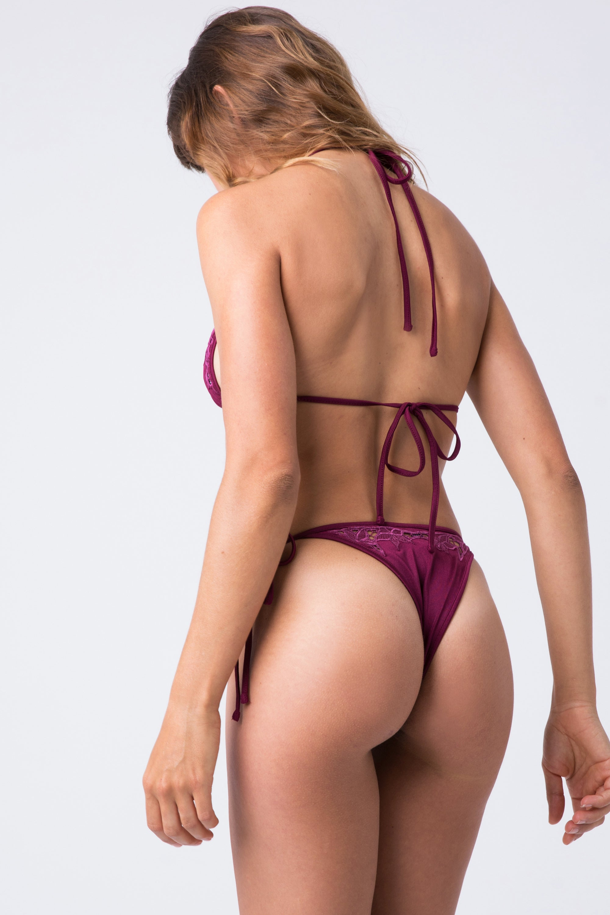 08694379be67b ... INDAH Lewis Lace Tie Side Bikini Bottom - Bordeaux - undefined undefined