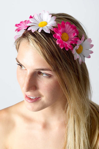 BIKINI.COM Light Pink & Hot Pink Daisy Floral Crown Accessories | Light Pink / Hot Pink
