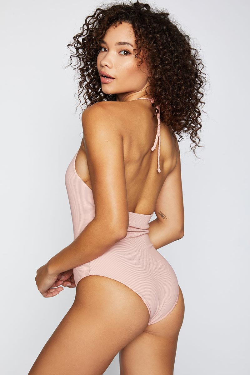 FRANKIES BIKINIS Lily One Piece - Vintage Rose One Piece | Vintage Rose|Lily One Piece - Features:  Plunge deep v-neck one piece Vintage rose light pink ribbed fabric Halter neck string tie Moderate coverage bottom