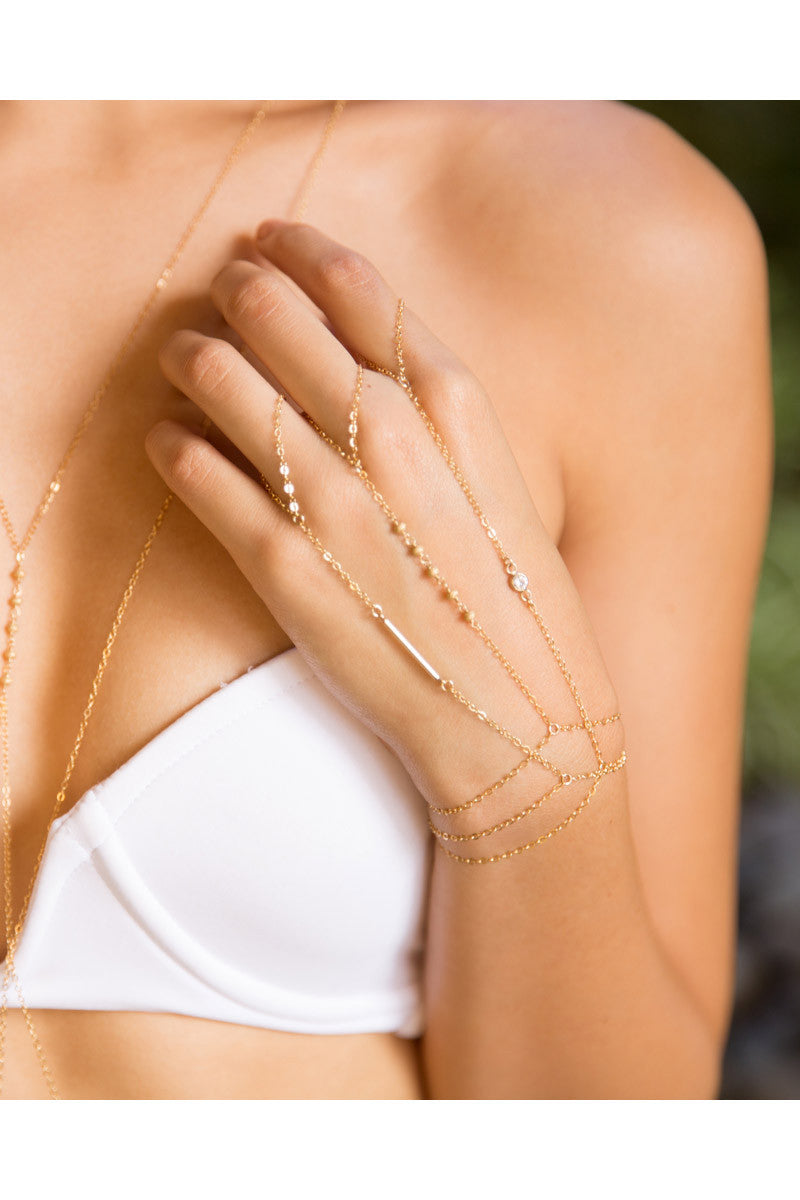 LOVE ME KNOTS Golden Hand Chain Jewelry | Gold|