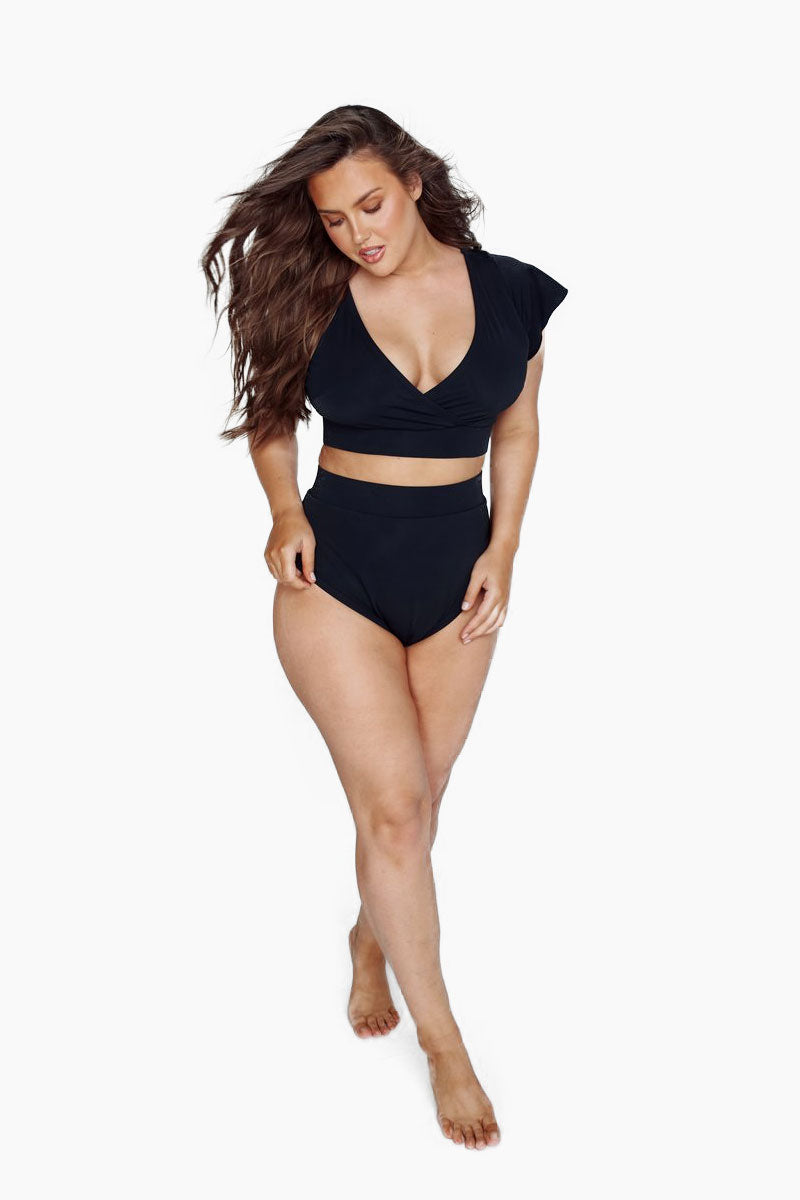 BFF Short Sleeve Bikini Top (Curves) - Black