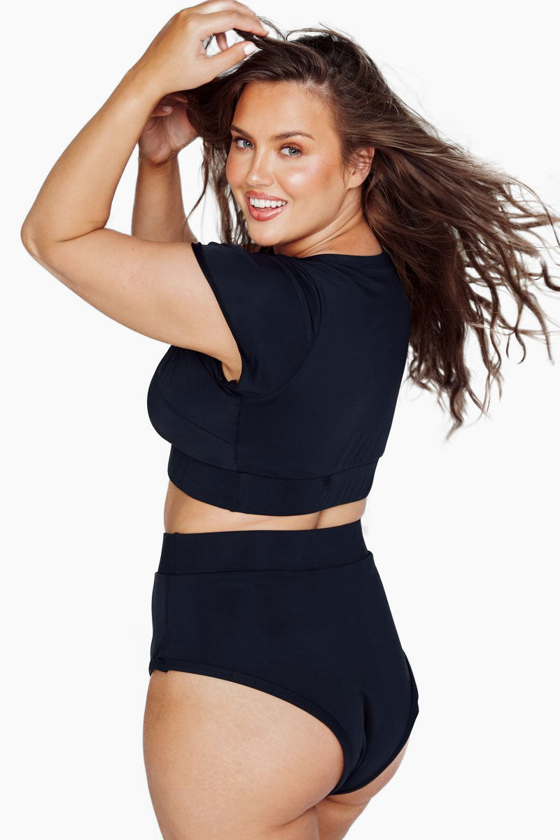 Lover High Waisted Bikini Bottom (Curves) - Black