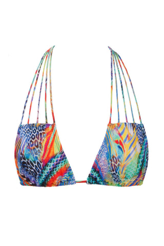 LULI FAMA Multi Strings Triangle Top Bikini Top | Multicolor Mermaid|