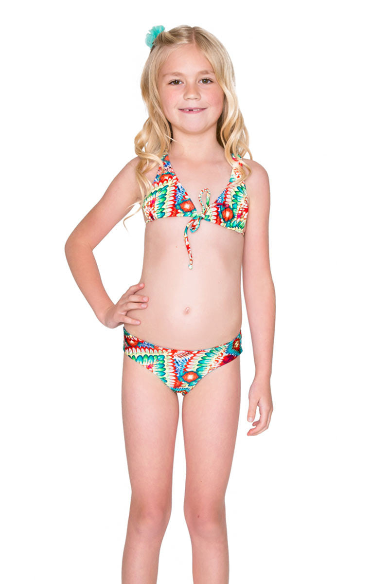 Criss Cross Halter Bikini Set (Kids) - Wild Heart Print