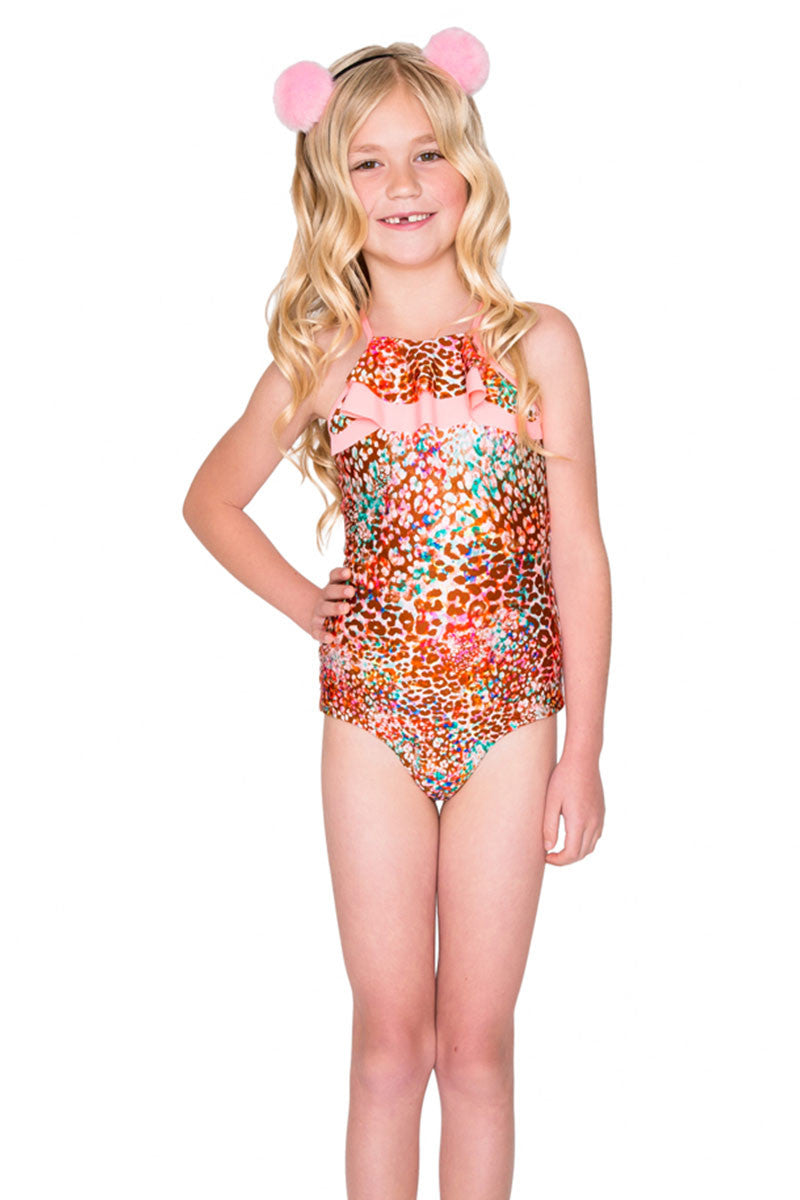 Ruffle Layered One Piece Swimsuit (Kids) - Untameable Animal Print