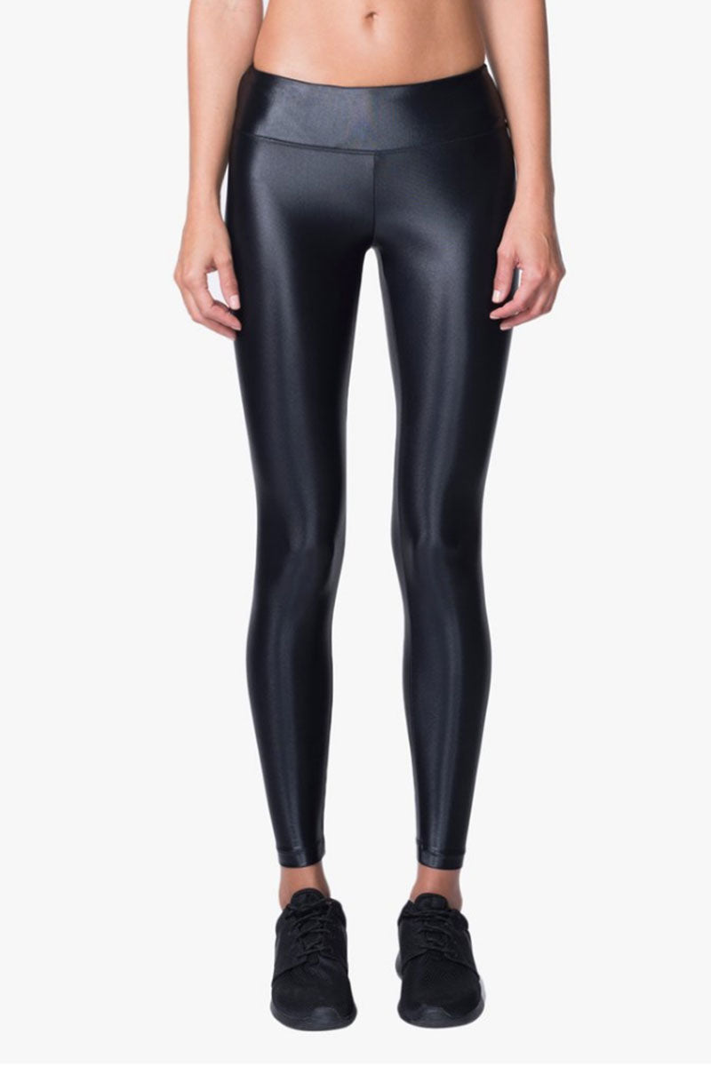 Lustrous Mid Rise Leggings - Black