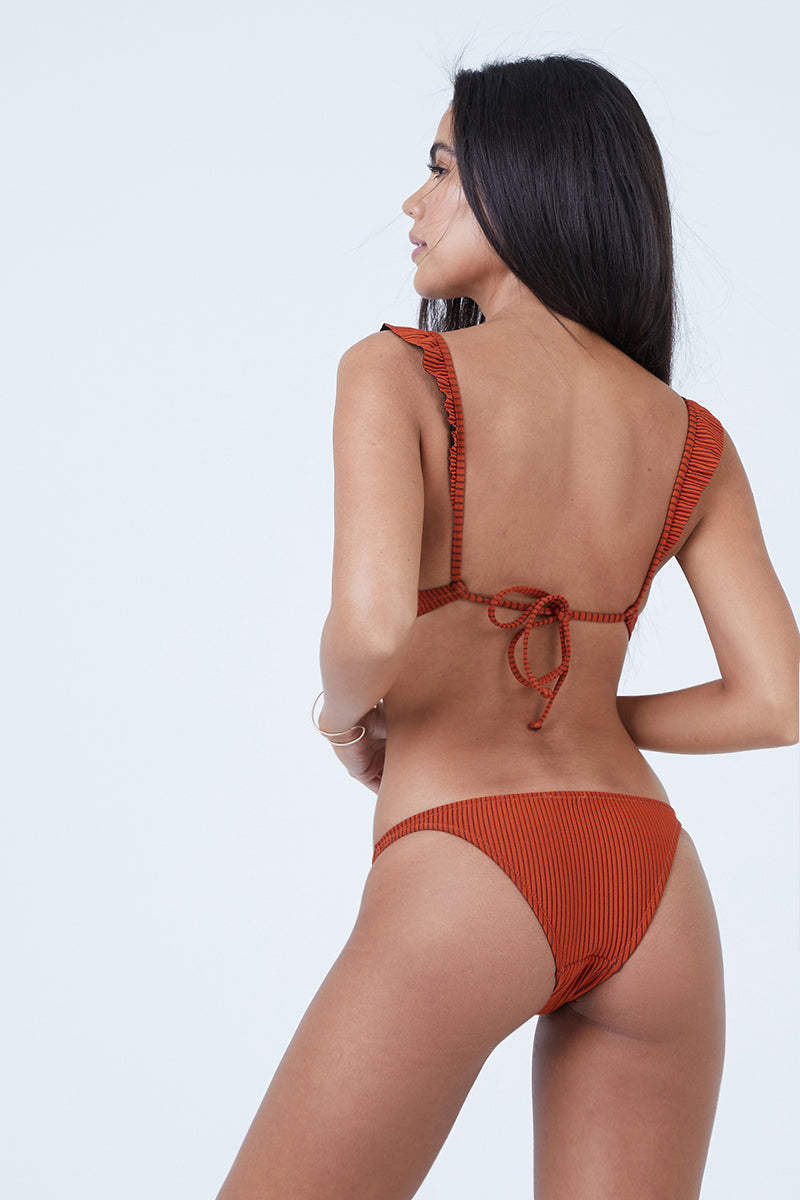 Petal Ribbed Low Rise Bikini Bottom - Monarch Red