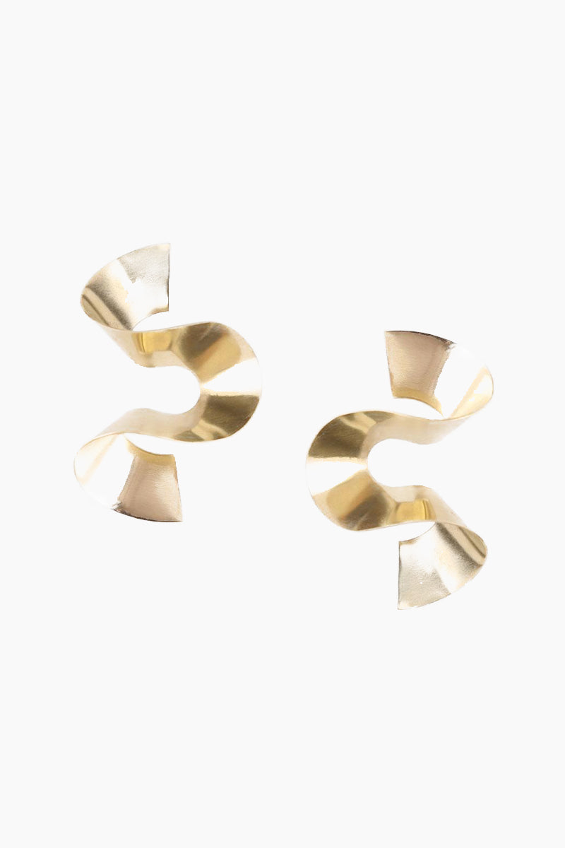 Maxi Twisted Sia Stud Earrings - Brass