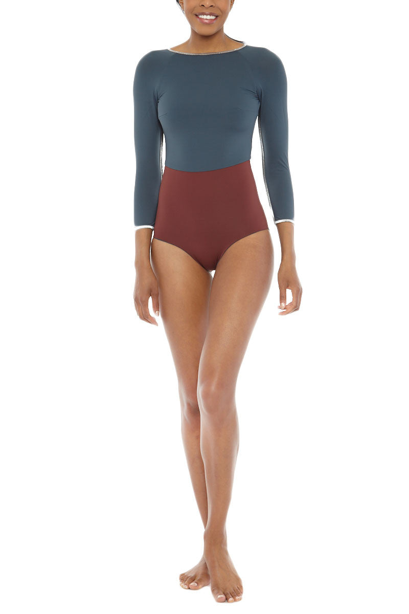 Wave Catches Reversible Color Block Three Quarter Sleeves One Piece Swimsuit - Grey/Rosewood Red